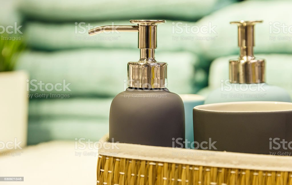Bathroom accessories on the shelf stock photo