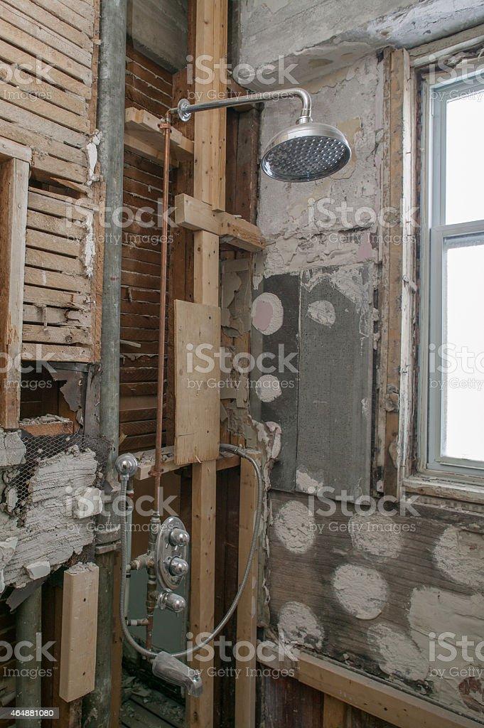 bathroom before renovation stock photo