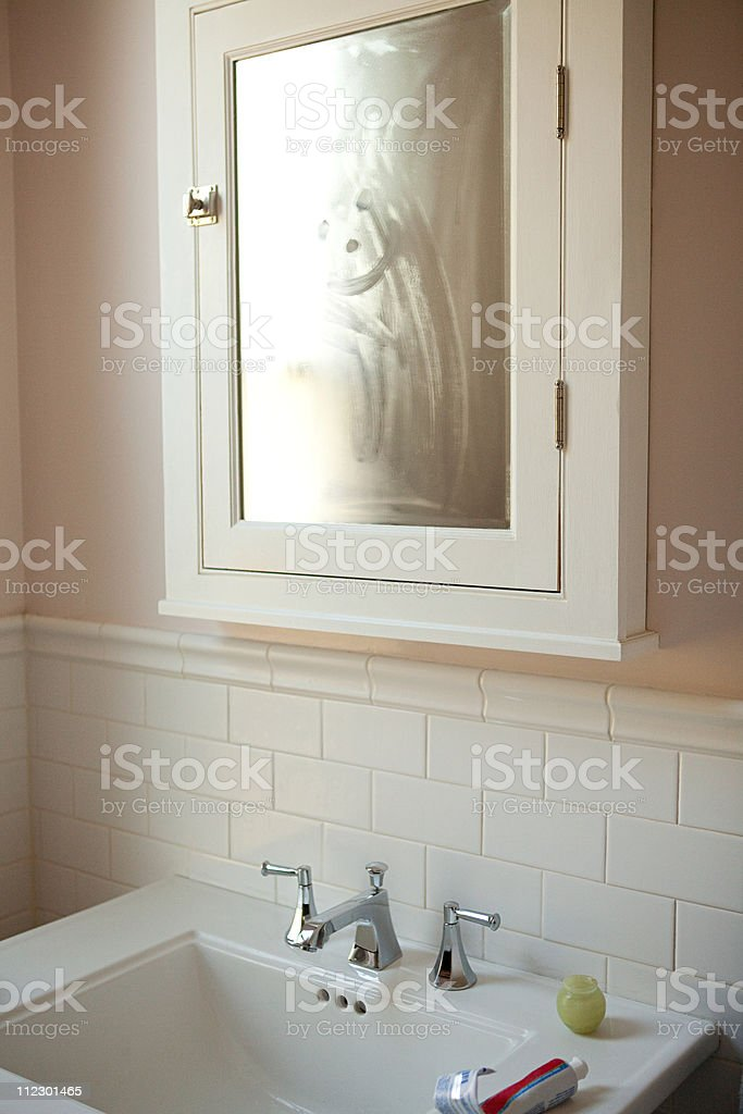 Bathroom cabinet and sink stock photo