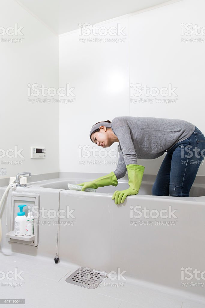 Bathroom cleaning stock photo