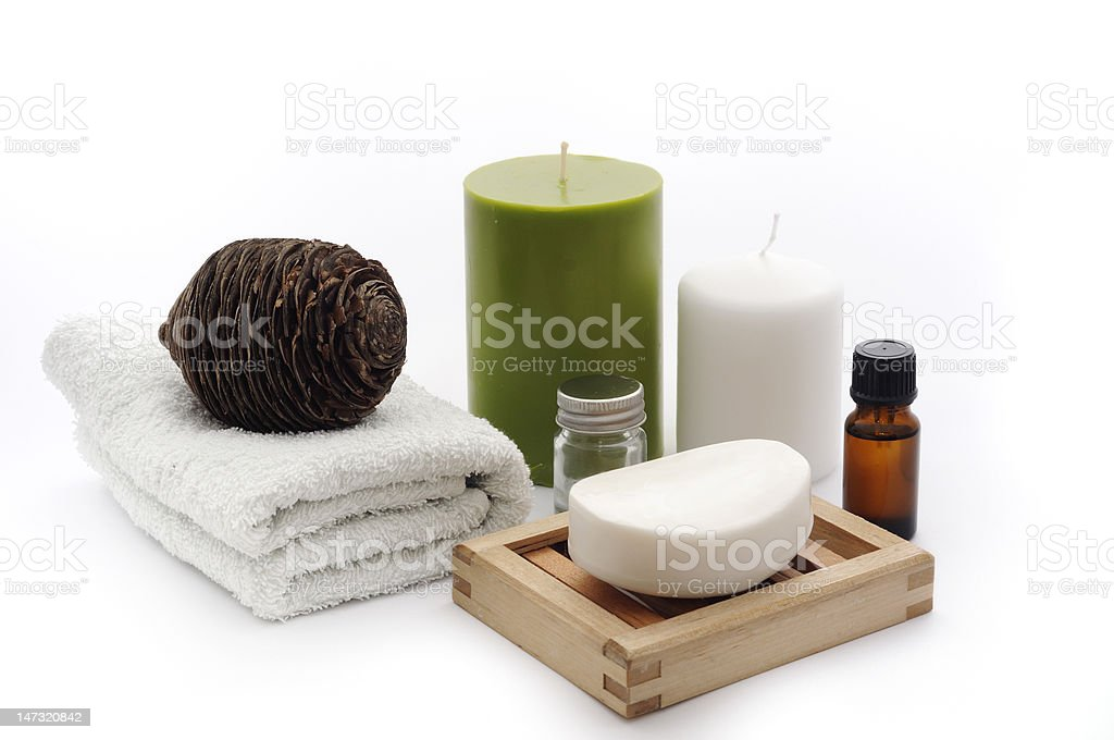 Bathroom composition with candels. stock photo