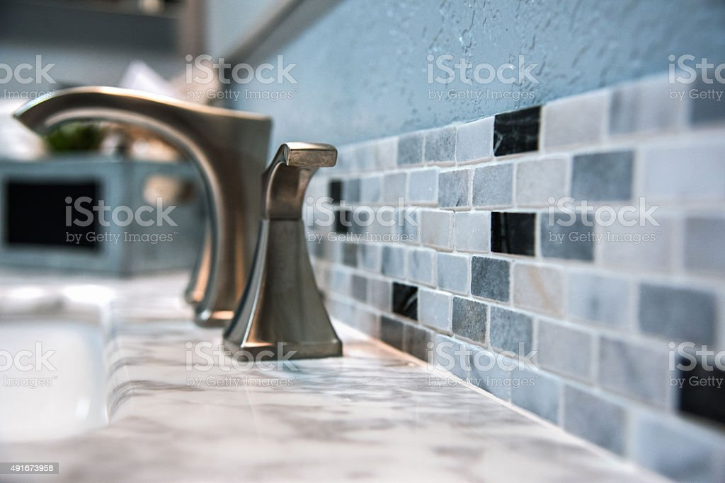 Bathroom Counter Tile Detail stock photo