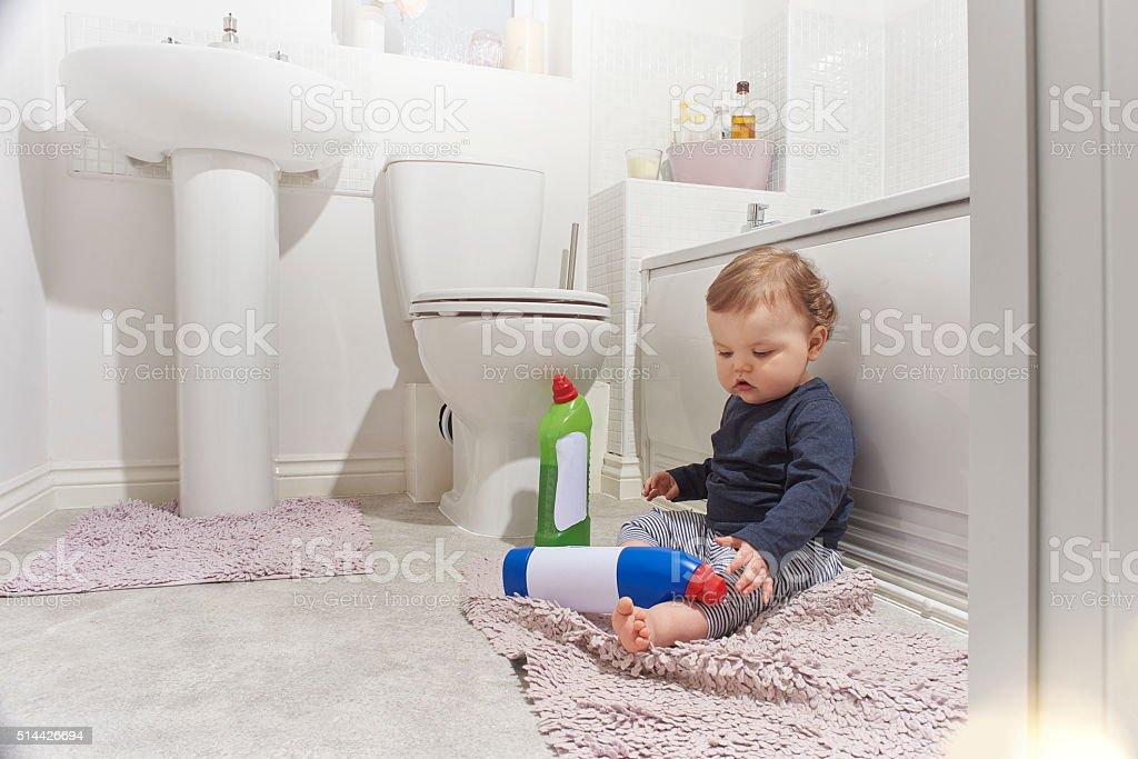 Bathroom dangers for baby stock photo