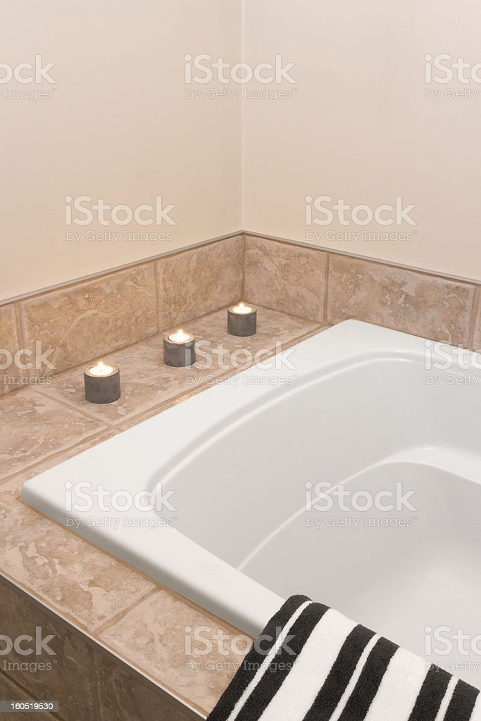 Bathroom decorated with candle lights royalty-free stock photo