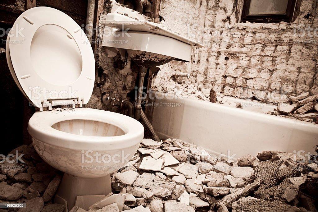 Bathroom Demolition and Renovation stock photo