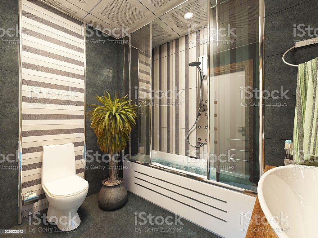 bathroom design 3D rendering stock photo