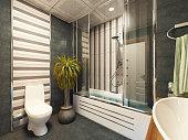 bathroom design 3D rendering