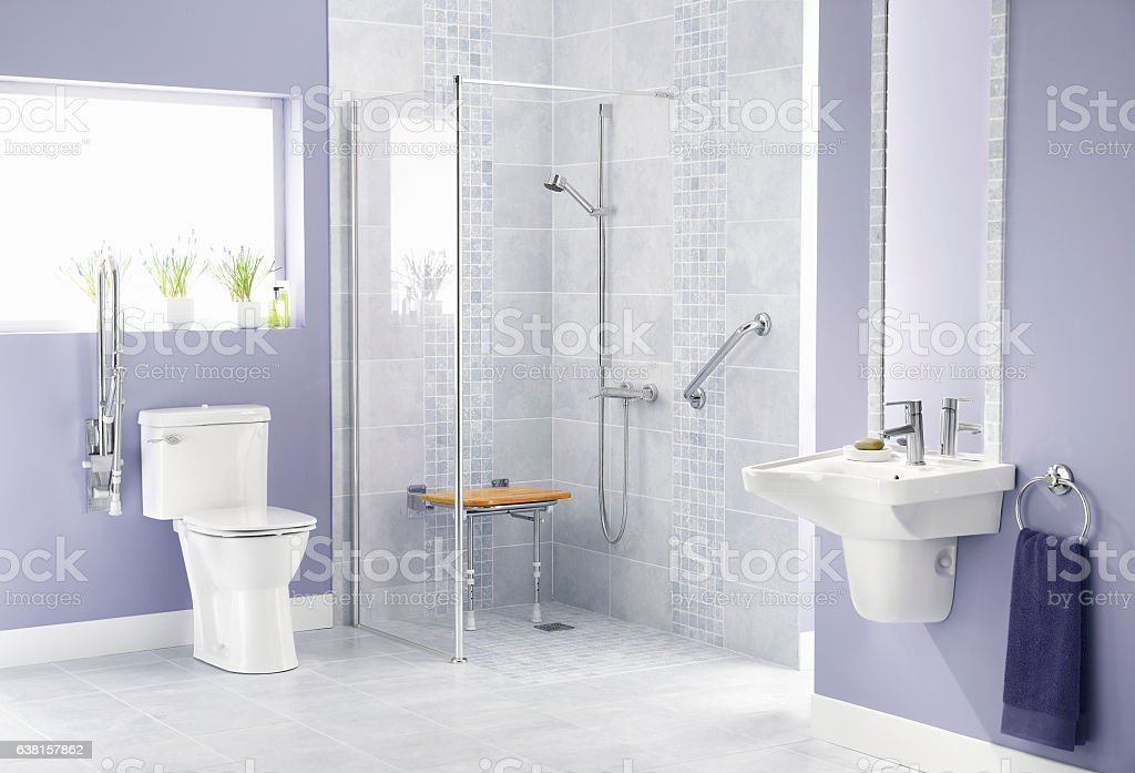 Bathroom for disabled stock photo