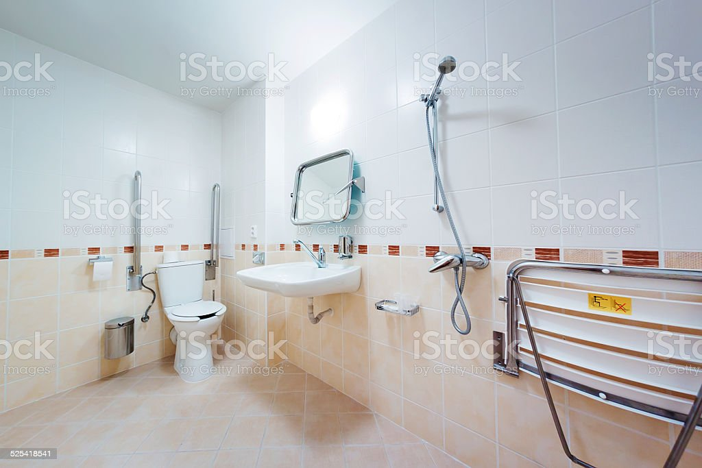Bathroom for people with disabilities stock photo
