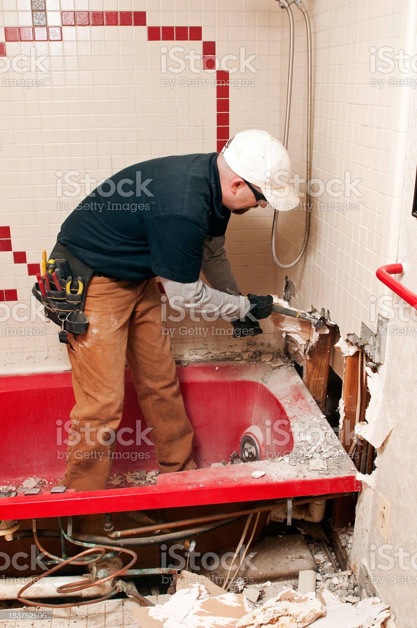 Bathroom Guy Remodeling royalty-free stock photo