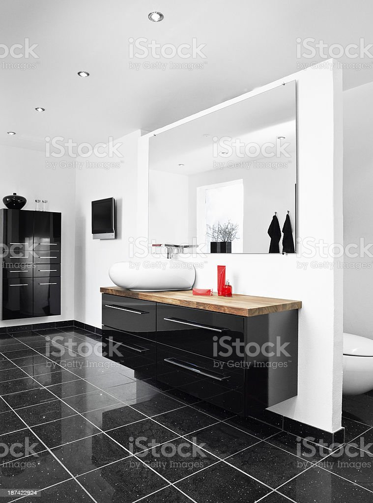 Bathroom in black and white stock photo
