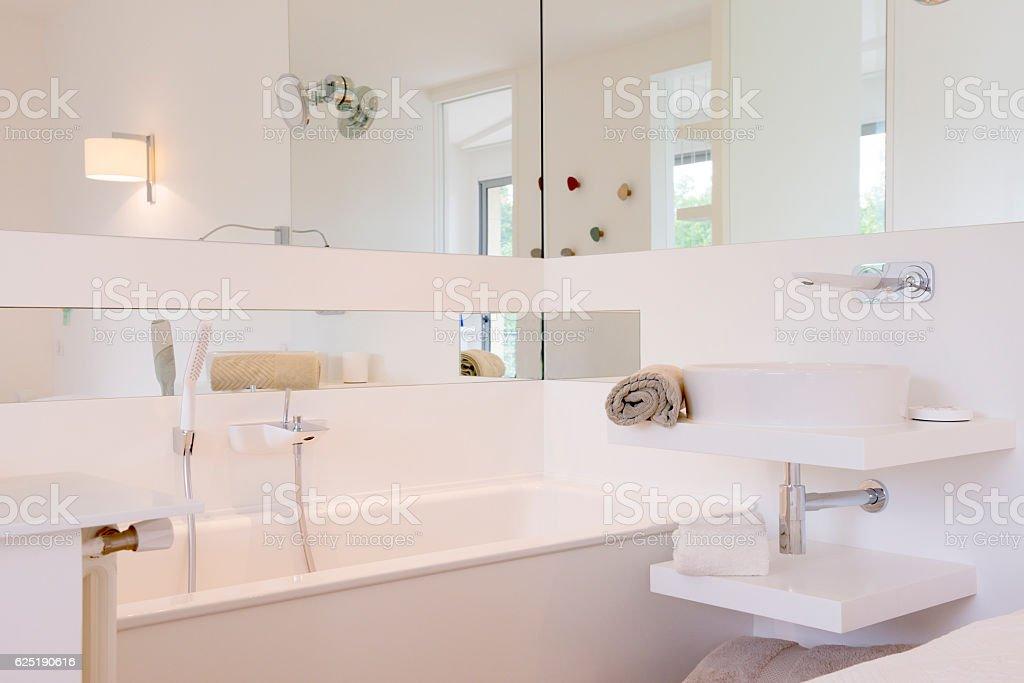 Bathroom in Luxury Home: Bathtub in the Bedroom stock photo