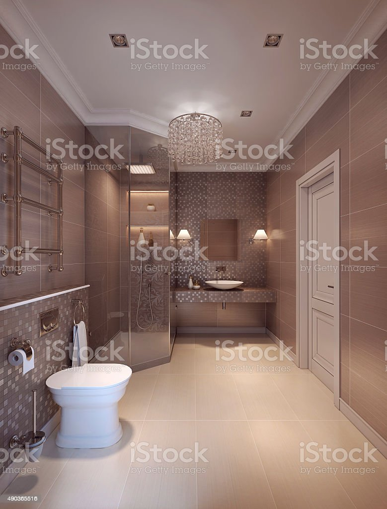 bathroom in modern style. stock photo