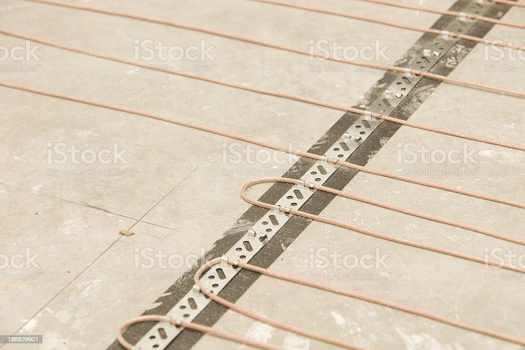 Bathroom Infloor Heat Cable on Concrete royalty-free stock photo