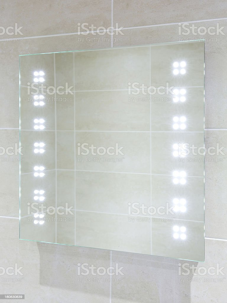 bathroom mirror with LED lights on royalty-free stock photo