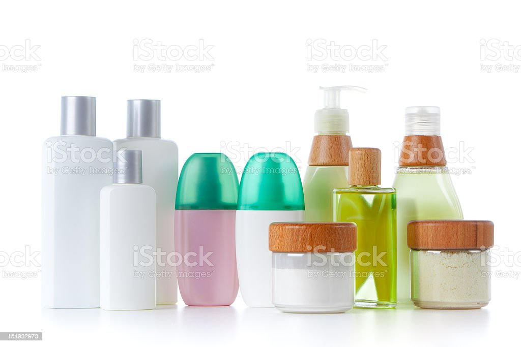 Bathroom products composition stock photo