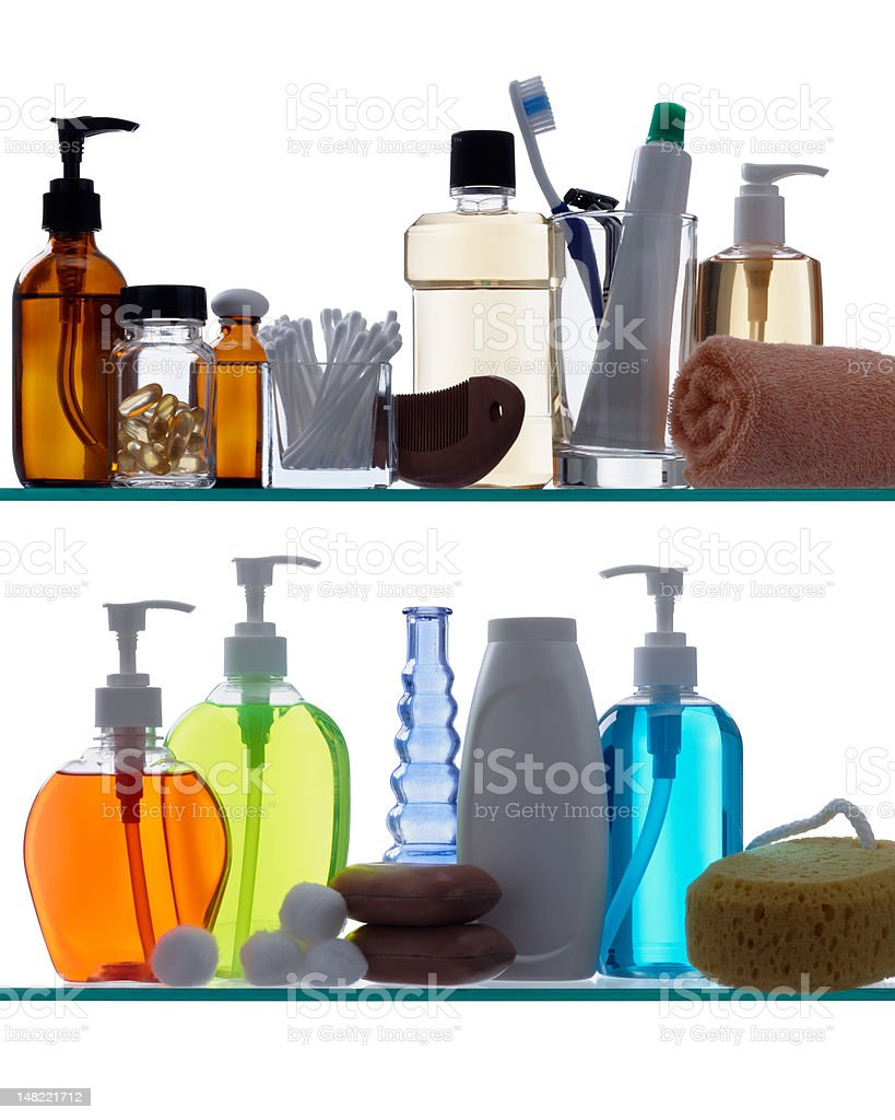 bathroom products on shelves stock photo