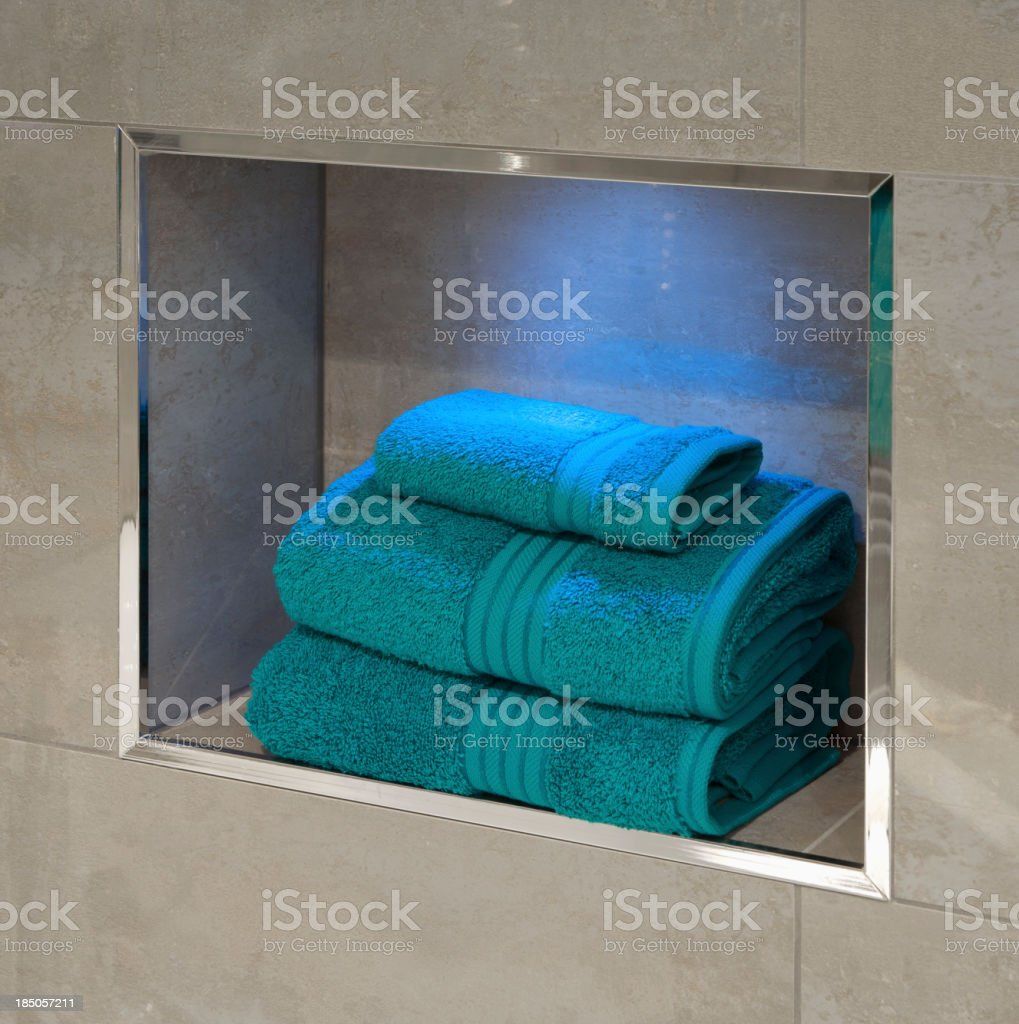 bathroom recess and turquoise towels royalty-free stock photo