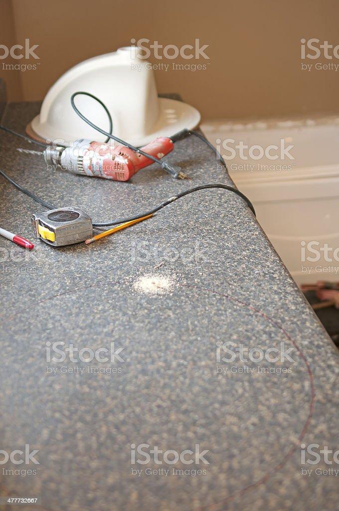 Bathroom Renovation Installing Sink stock photo