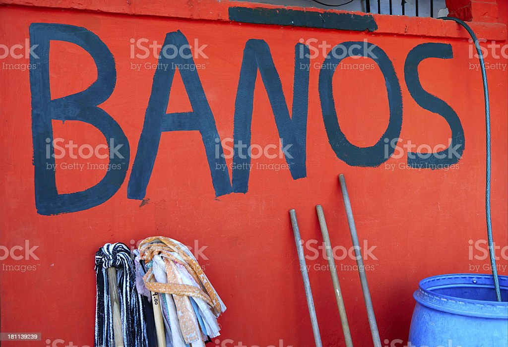Bathroom, Restroom, Banos Sign, Mexico stock photo