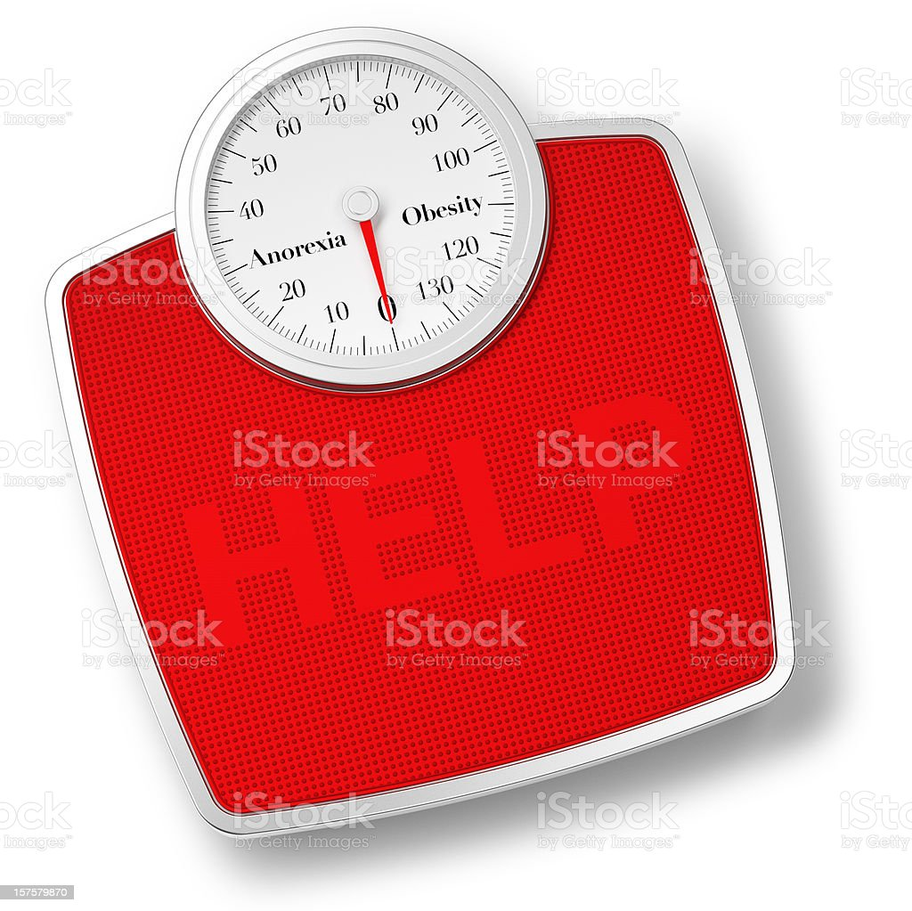 Bathroom Scale isolated on withe and HELP writing royalty-free stock photo