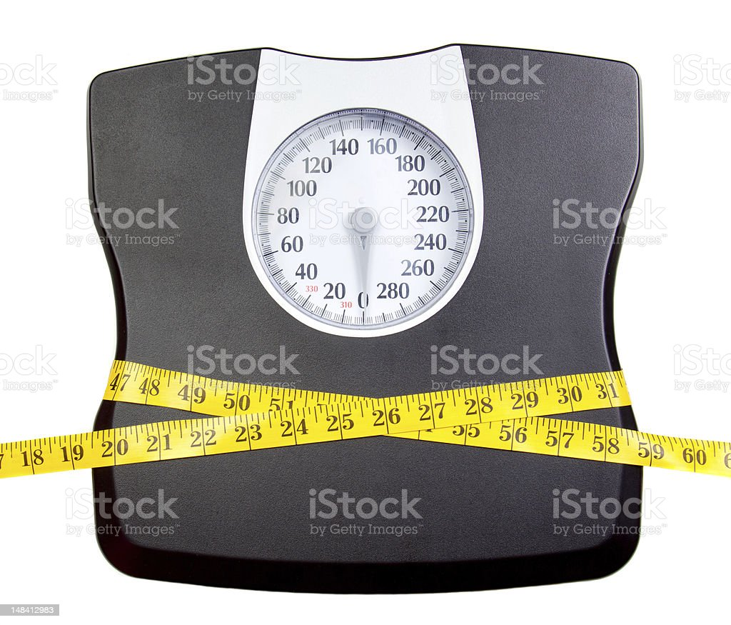 Bathroom scale with a measuring tape stock photo