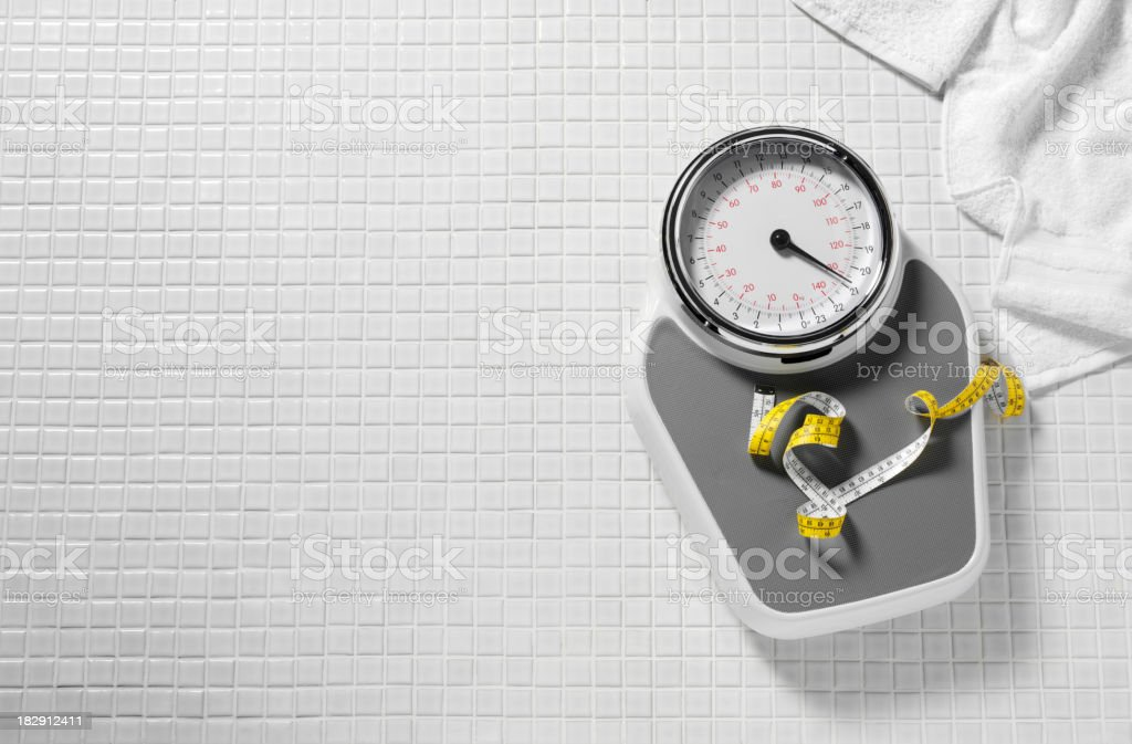 Bathroom Scales and Tape Measure stock photo