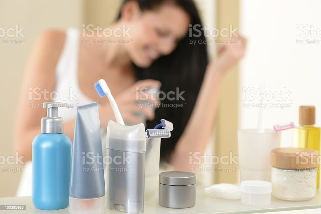 Bathroom shelf with beauty and hygiene products royalty-free stock photo