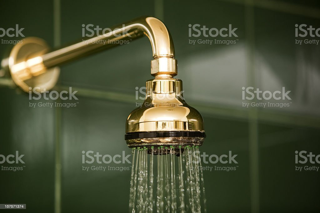 Bathroom Shower Head and Running Water stock photo