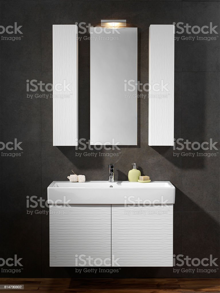 Bathroom Sink and Mirror stock photo