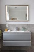 Bathroom Sink and Mirror with Hand towel & Sponge