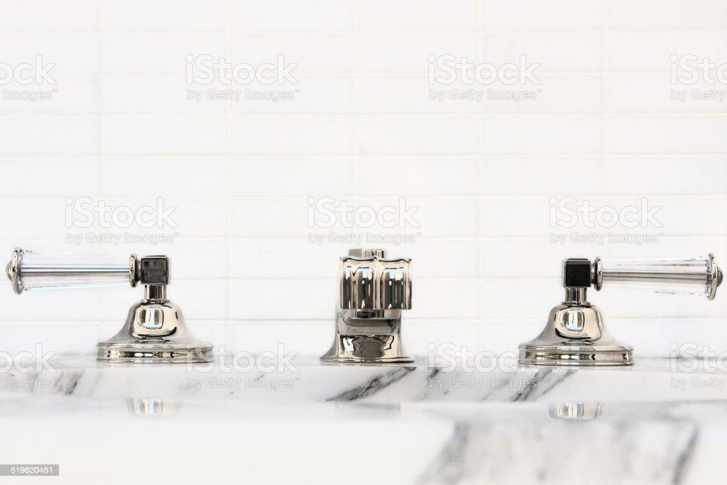 Bathroom Sink Faucet Chrome Glass Marble Tile Decor stock photo