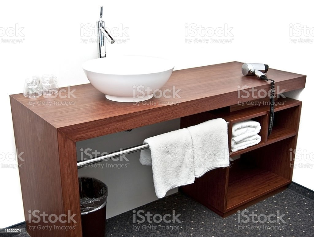 bathroom sink on wodden table royalty-free stock photo