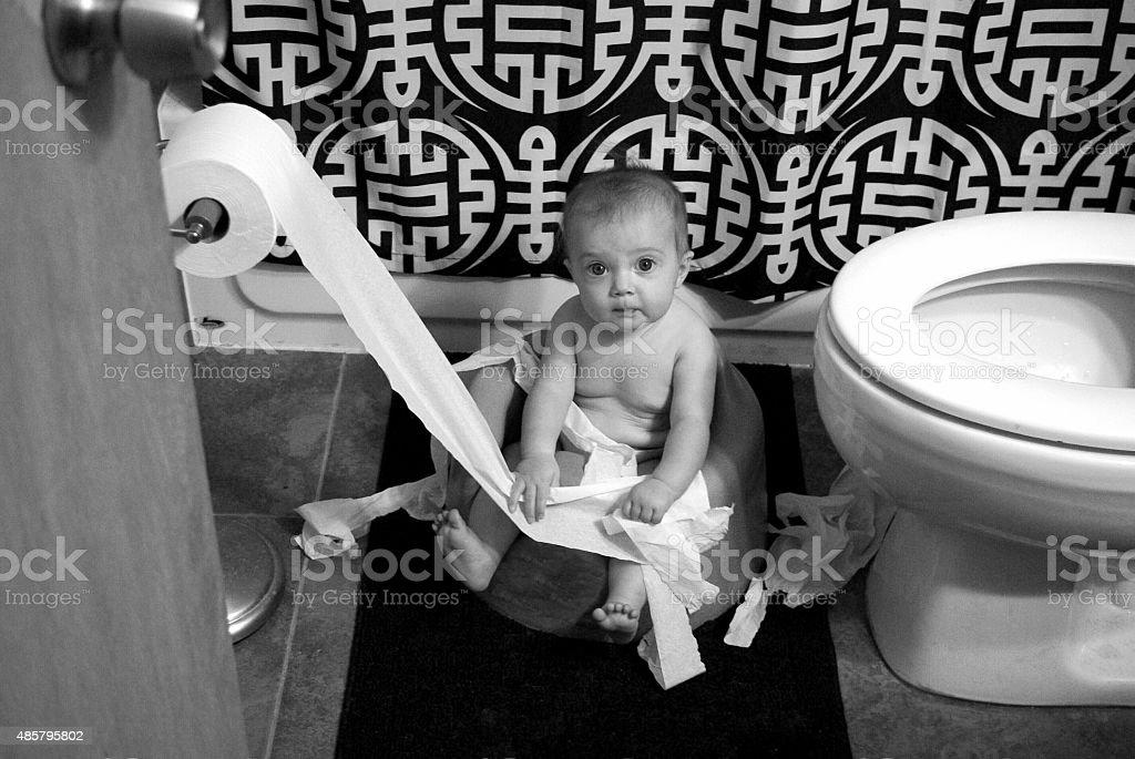 Bathroom  terror, caught in the act stock photo