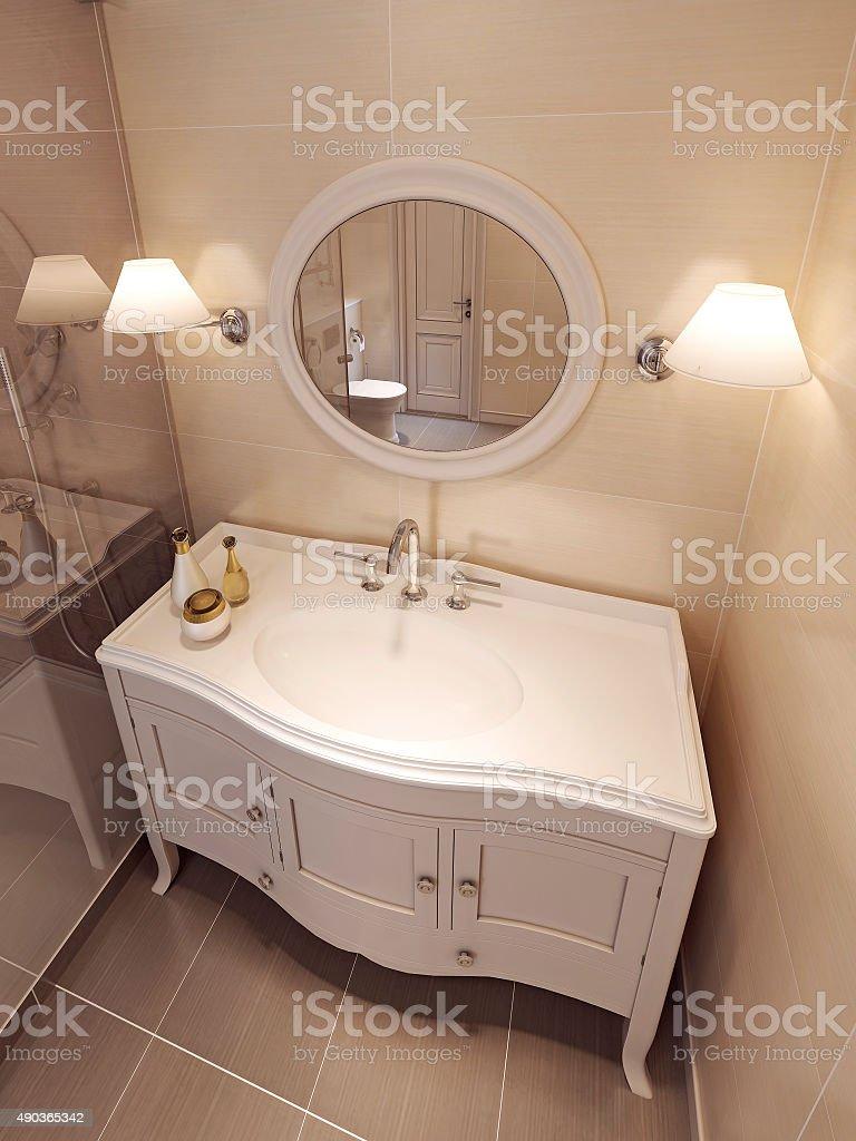 Bathroom Vanites in beige color, classic design. stock photo