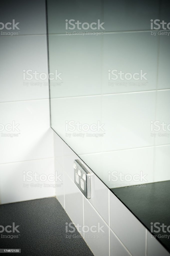 Bathroom vanity mirror outlet power point stock photo