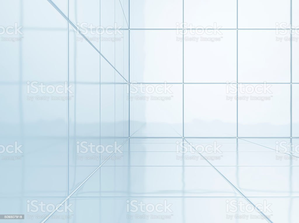 Bathroom walls with clean white ceramic tiles. stock photo