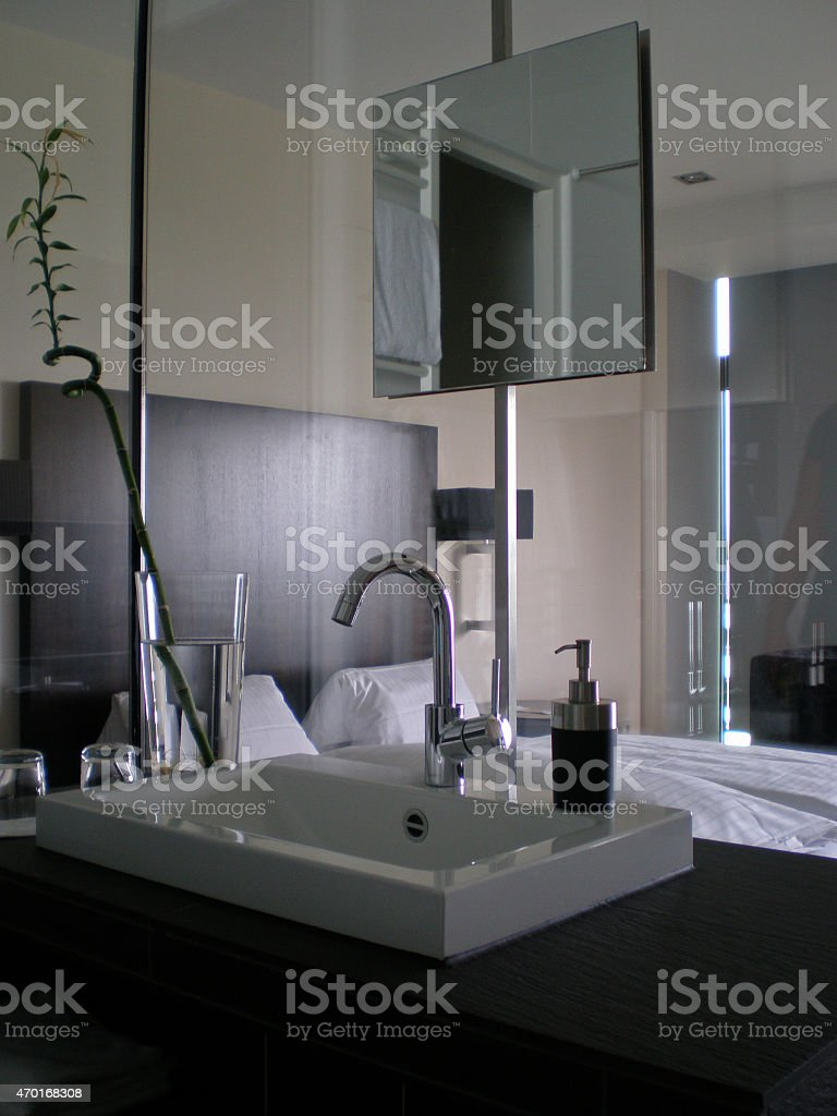 Bathroom with a glass wall stock photo