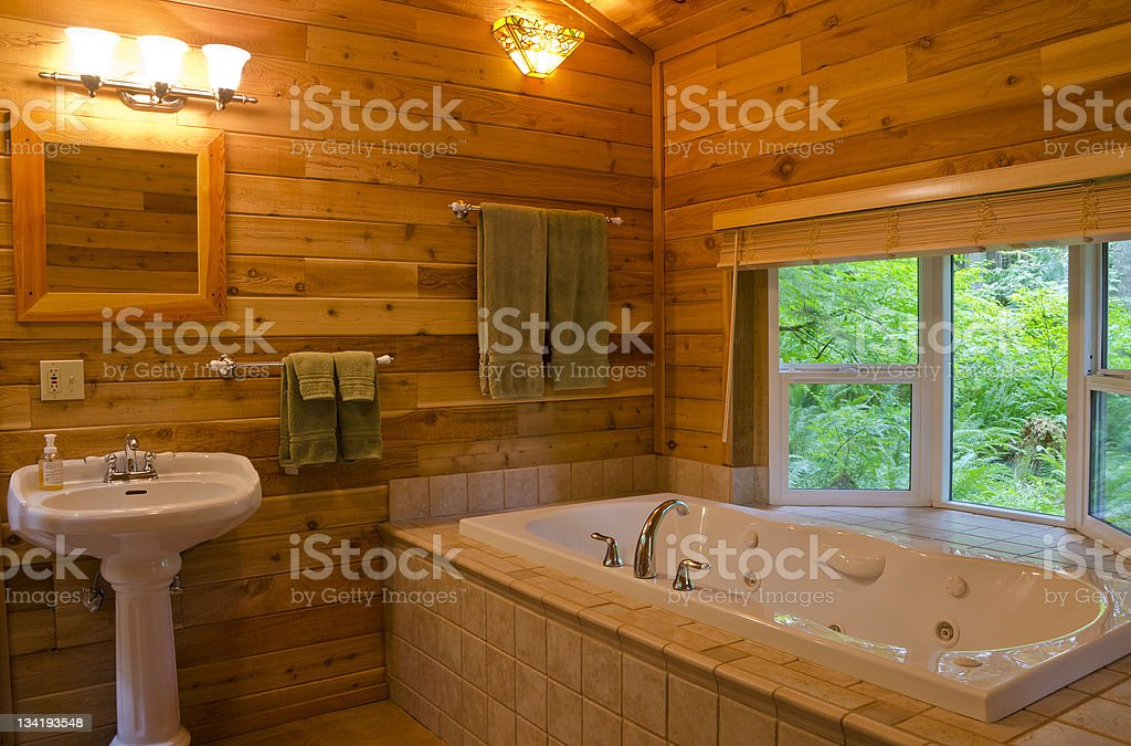 Bathroom with a View of the Forest royalty-free stock photo