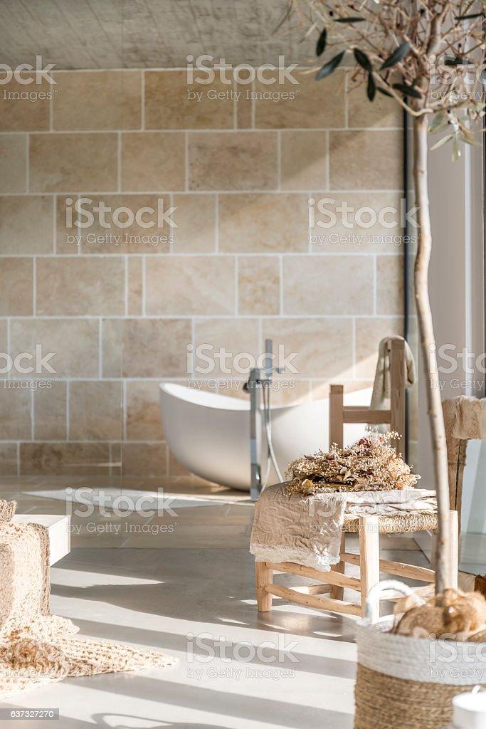 Bathroom with bathtub stock photo