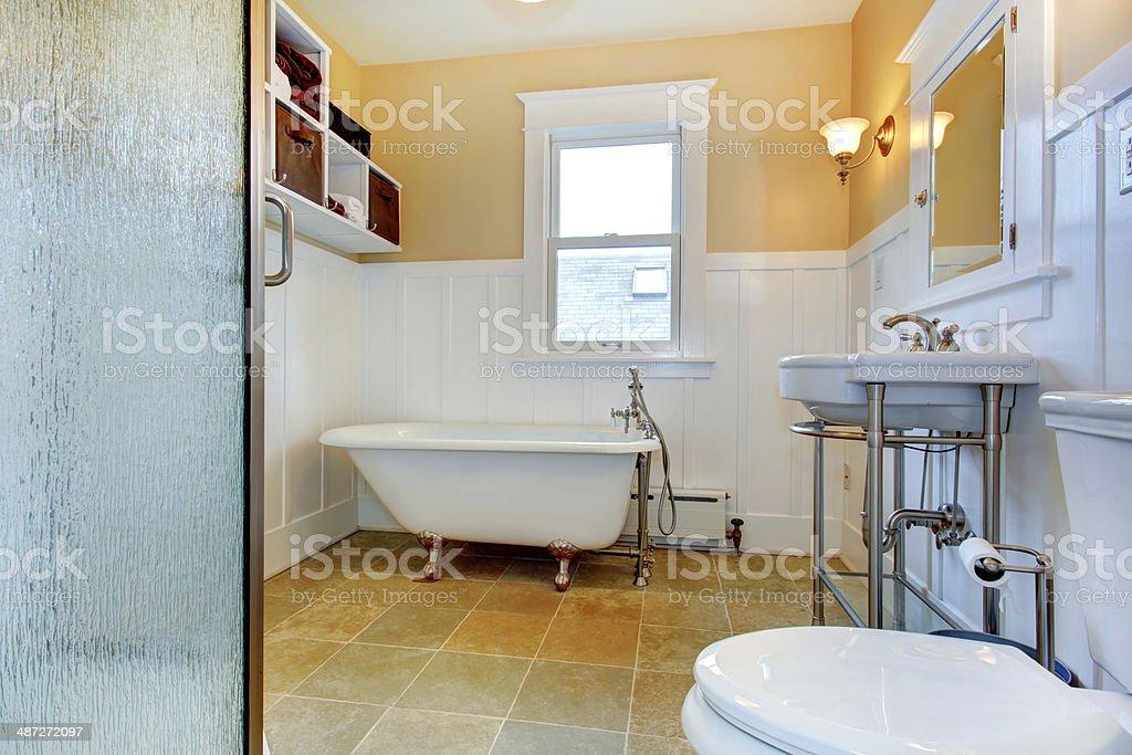 Bathroom with claw foot tub stock photo