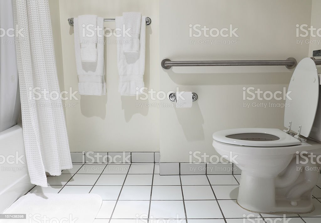 Bathroom with handicap fixture in white stock photo