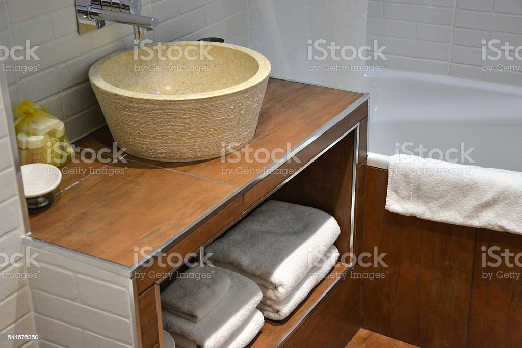 bathroom with towels stock photo