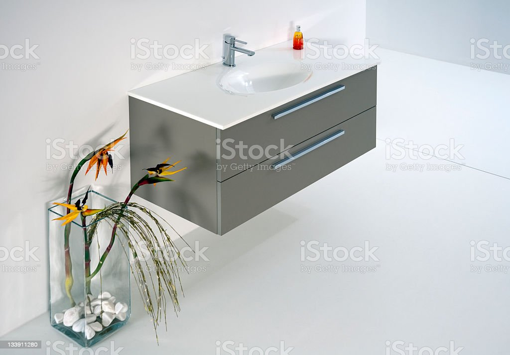 Bathroom with washbasin built in to cupboard, Istanbul, Turkey royalty-free stock photo