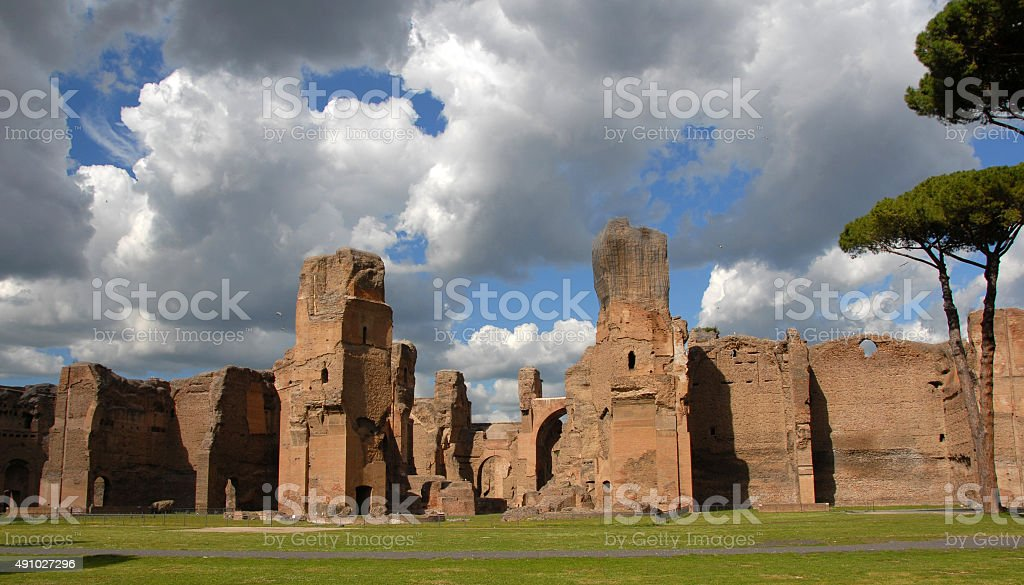 Baths of Caracalla Ancient Rome thermal complex stock photo