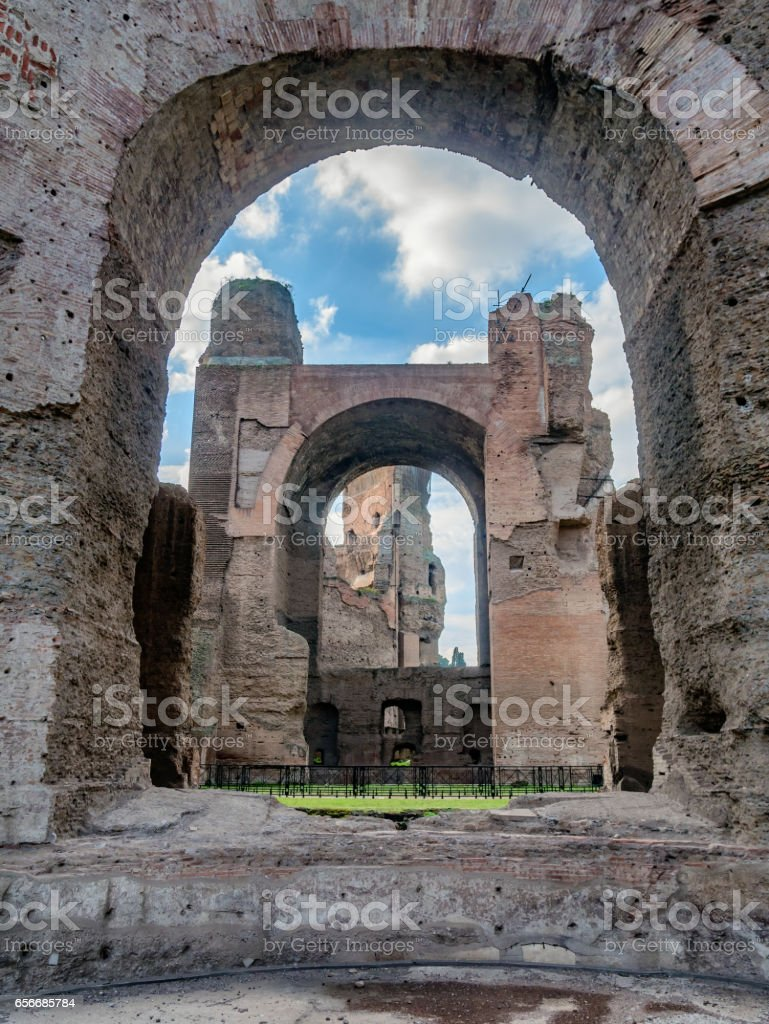 Baths of Caracalla in ancient Rome, Italy stock photo