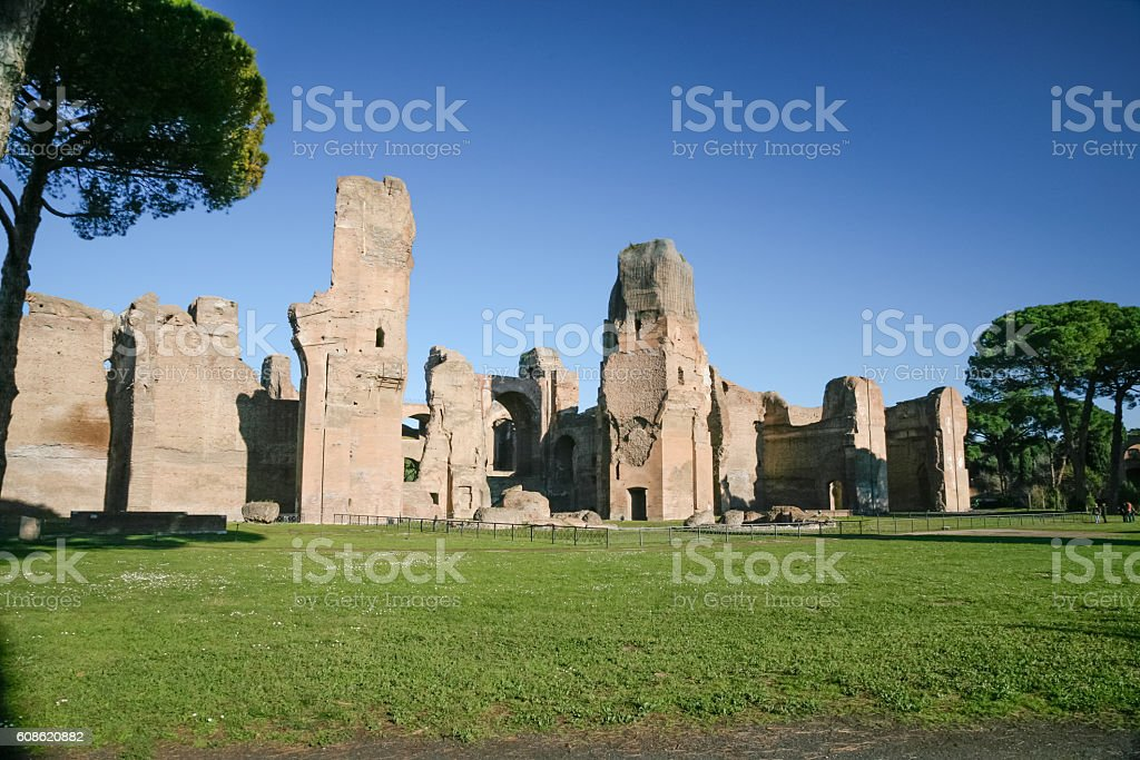 Baths of Caracalla in Rome stock photo