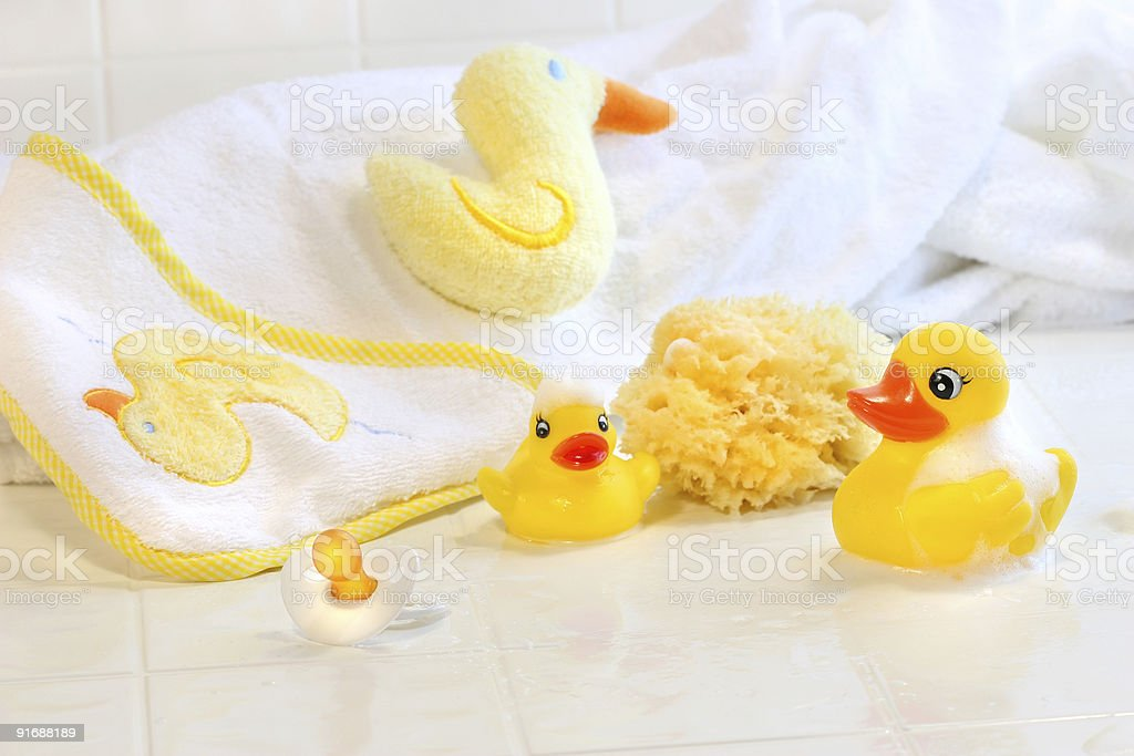 Bathtime for baby stock photo