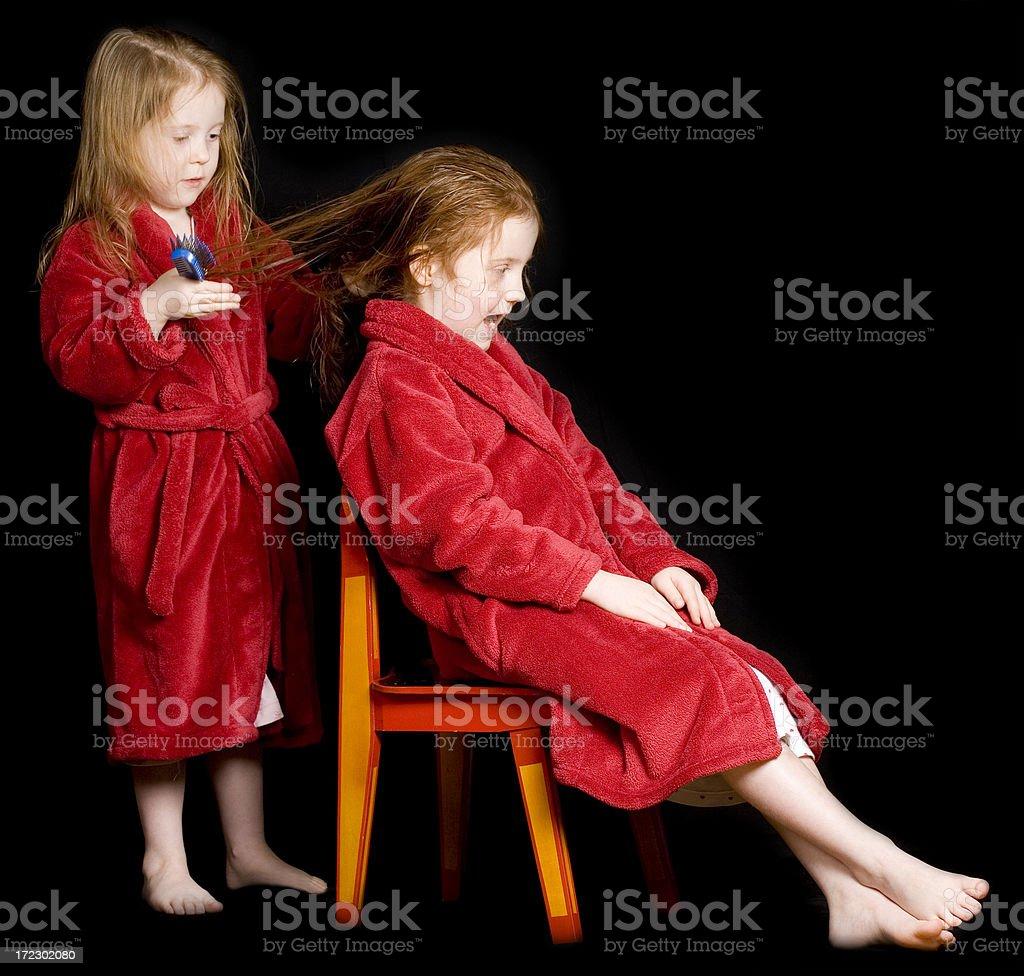 Bathtime pleasures - Combing hair royalty-free stock photo