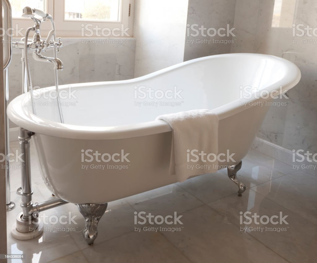 Bathtub in a luxurious hotel room. stock photo